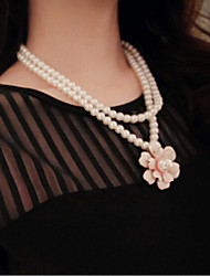 Women's Strands Necklaces Layered Necklaces Pearl Necklace Pearl Imitation Pearl Alloy White Black Jewelry Wedding Party Daily Casual 1pc