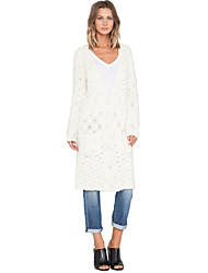 Women's Solid White Dress , Casual Long Sleeve