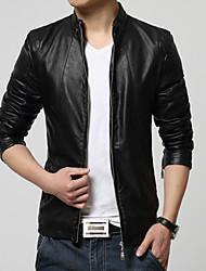 Men's Fashion Casual Thick Plus Velvet Slim Fit Leather Jacket