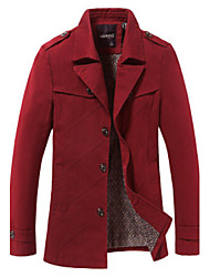 Men's Long Sleeve Casual / Plus Sizes Jacket,Cotton Solid Black / Brown / Red / Tan