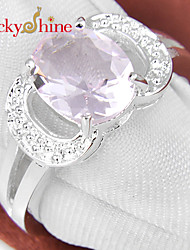 Luckyshine Amazing 925 Silver Fire Dazzling Oval Pink Topaz Crystal Gemstone Rings For Christmas Holiday Family Gifts
