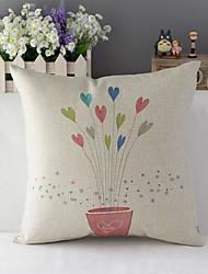 "43cm*43cm 17""*17"" Loving heart Flowers Cotton / Linen Cotton&linen Pillow Cover / Throw Pillow With No Insert"