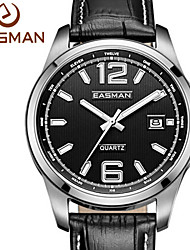 EASMAN® Watches Men Vintage Italy Genuine Leather Auto Date Analog Quartz Watch Stainless Steel Wristwatches Lover Gift Cool Watch Unique Watch