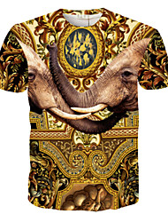 Hot Sale men's t shirt cotton and polyester short sleeves o-neck t-shirts with India elephant Size M-XXL