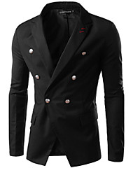 simple Men's V-Neck Suits & Blazers , Cotton Blend Long Sleeve Casual Pocket Fall