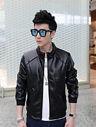 2015 new Korean Metrosexual jacket slim men's casual wear winter thick velvet jacket PU motorcycle leather