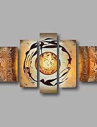 Ready to Hand Stretched Framed Hand-Painted Oil Painting on Canvas Wall Art Modern Abstract Beige Five Panels