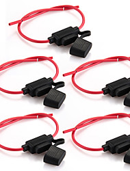 5pcs Car Inline Blade Fuse Holder Waterproof Medium Size Black + Red New