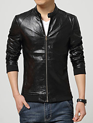 Men's Korean Fashion Slim Fit Motorcycle Leather Jacket
