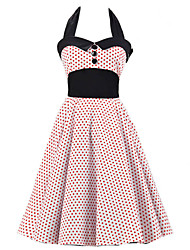 Women's White Red Mini Polka Dot Dress , Black Collars Big Buttons Vintage Halter 50s Rockabilly Swing Dress