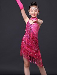 Latin Dance Dresses Children's Performance / Training Milk Fiber Tassel(s) 1 Piece Fuchsia / Gold / Red