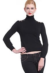 Damen Pullover-Lässig/Alltäglich Einfach Solide Rollkragen Langarm Frühling Herbst