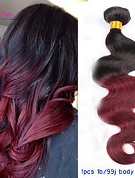 Ombre péruviens vierge ombre hair bordeaux ondes de corps ondulées extensions de cheveux ombre vin rouge 100% des extensions de cheveux