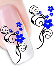Water Transfer Printing Blue Floret Nail Stickers