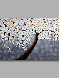 Ready to Hang Stretched Hand-Painted Oil Painting Canvas Wall Art Contempory Abstract White Blossom One Panel
