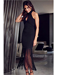 Women's High Halterneck Fringe Hem Maxi Dress