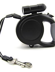 Dog Leash LED Lights / Adjustable/Retractable / Automatic Solid Black / Blue Nylon / Plastic