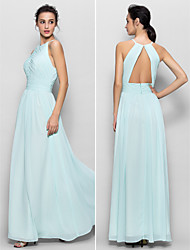 Floor-length Chiffon Bridesmaid Dress Sheath/Column Jewel