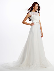 A-line Wedding Dress Court Train Jewel Lace / Organza with Button / Lace