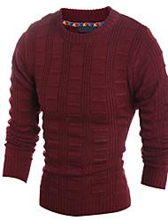 Herren Standard Pullover-Lässig/Alltäglich Arbeit Formal Sport Übergröße Solide Verziert Langarm Baumwolle Leinen