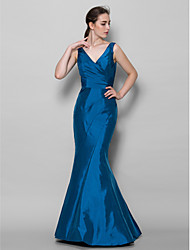 Floor-length Taffeta Bridesmaid Dress Trumpet/Mermaid V-neck