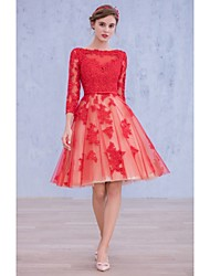 Cocktail Party Dress Ball Gown Bateau Knee-length Lace with Bow(s) / Lace / Sash / Ribbon