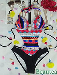 Women's Sexy Halter Bohemia Geometric Print One Piece Swimwear with Padded Bra