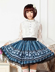 Blue Lace Snowflake Lolita  Skirt Lovely Cosplay
