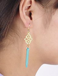Women's Fashion Hollow Palace Pattern Turquoise Earrings