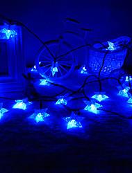 King Ro Solar 16.4ft 30LED Star Shape Christmas Tree Decor Light Outdoor Waterproof Holiday Light