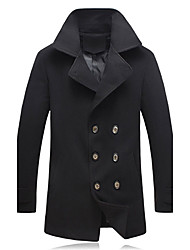 Men's Long Sleeve Regular Coat , Others Pure