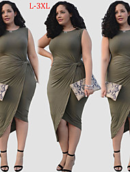 Women's Plus Size Solid Color Green Dresses , Sexy Round Sleeveless