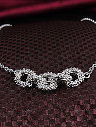Xinjiu korean Jewelry Green Copper Plated 18K White Gold Necklace Fashion Decoration