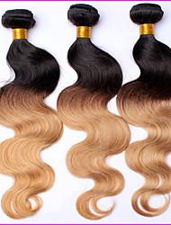 1 Stück ombre peruanische reine Haarkörperwelle Haarverlängerungen ombre ombre 3 Ton gefärbt t1b / 27.04 menschliche Haarwebart Bundles