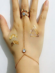 European Style Fashion Simple Geometric Rhinestone Bracelet With Ring