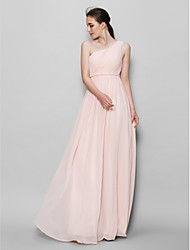 Lan ting bride en mousseline de soie robe mousseline demoiselle d'honneur - A-ligne one shoulder with side draping