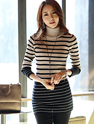 Q.M Women's Striped Multi-color Tops & Blouses , Sexy / Casual / Work High-Neck Long Sleeve