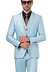 Suits Standard Fit Notch Single Breasted One-button Serge Solid 3 Pieces Sky Blue