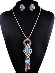 May Polly Korean fashion female long tassel sweater chain Gemstone Earrings Set