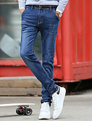 Men's jeans The fashion leisure cultivate one's morality stretch feet pants men