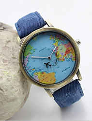 Women's Fashion Personality Map Leather Quartz Belt Watch(Assorted Colors) Cool Watches Unique Watches