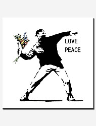 Graffiti Artists Banksy Style Love and Peace,Print on Canvas