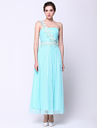 Formal Evening Dress - Sky Blue A-line One Shoulder Ankle-length Chiffon