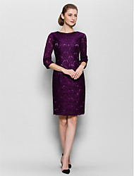 Sheath/Column Mother of the Bride Dress - Knee-length Half Sleeve Lace