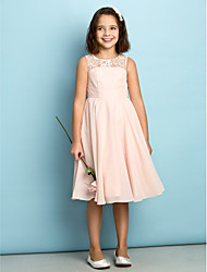 Lanting Bride Knee-length Chiffon Junior Bridesmaid Dress - Mini Me A-line Scoop with Lace