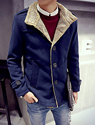 Men's Shirt Collar Coats & Jackets , Cotton Long Sleeve Casual Button Fall Iota