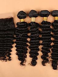 Trama do cabelo com Encerramento Cabelo Peruviano Onda Profunda 6 meses 5 Peças tece cabelo
