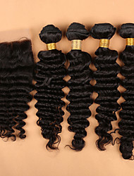 Slove Hair Peruvian Deep Wave Virgin Hair 100% Unprocessed Deep Wave Virgin Hair 4 Bundls with a Silk Closure 5pcs/Lot