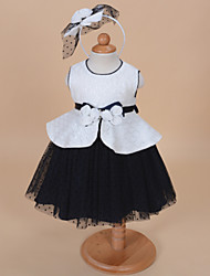 A-line Knee-length Flower Girl Dress - Tulle / Jersey Sleeveless