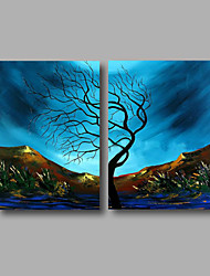 Pintados à mão Paisagem / Paisagens AbstratasModerno 2 Painéis Tela Pintura a Óleo For Decoração para casa